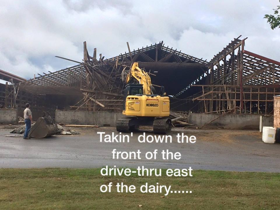 Tearing Down the Front of the Old Dive Through Barn
